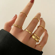 Set 7 Rings Fashion Women Bohemian Knuckle Gold Thumb Finger Stack Jewelry Gift