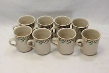 Old Time Pottery Holly Ribbons Mugs Set of 8 Christmas