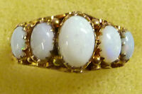 Vintage Handmade Color Matched 5 Opal & 9ct Gold Ring size O-1/2 (U.S.size 7-1/2