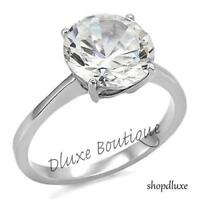 3.85 Ct Round Cut CZ Solitaire Stainless Steel Engagement Ring Women's Size 5-10
