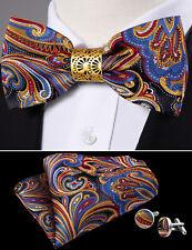 Men Pre Tied Bow Tie Red Blue Yellow Black Paisley Silk Bowtie Pocket Square Set
