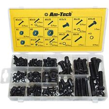 240PC NUT AND BOLT LOCK WASHER CASE SET HEX HEAD FASTENERS M4 M5 M6 M8 M10 BLACK