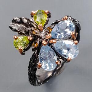 Handmade Design Blue Topaz Ring Silver 925 Sterling  Size 7 /R176638
