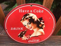 Vintage Coca Cola Heavy Porcelain Advertising Sign 12""