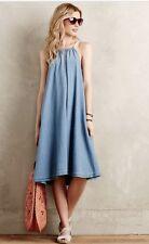 NWT   Anthropologie Chambray Swing Dress Size Sz M - L  Blue