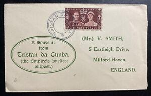 1937 Tristan Da Cunha Souvenir cover To England Empires Loneliest OutPost