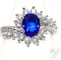Large 1CT Oval Blue Sapphire Ring Women Wedding Jewelry 14K White Gold Plated