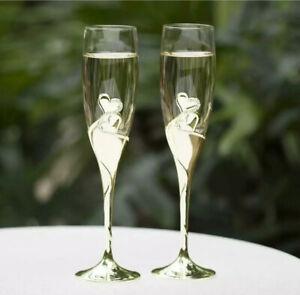 Hortense B. Hewitt Romantic Wedding Sparkling Love Champagne Flutes Set of 2 New