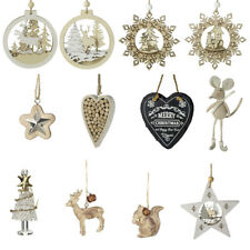 Christmas Tree Hanging Ornament Reindeer Stag Wooden Star Shape Xmas Decorations
