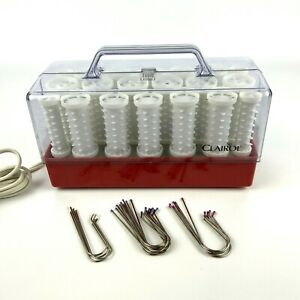 Clairol Style Setter Wax Core Hot Rollers C-20-1 Red Case 20 Clips Pageant Cheer