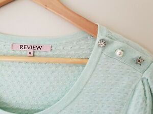 REVIEW Lola Mint Short Sleeve Waffle Knit Top SIZE 16