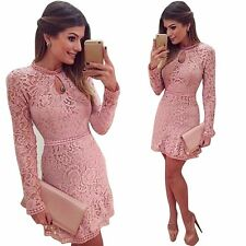 UK Women Ladies Bodycon Long Sleeve Lace Skater Prom Formal Cocktail Party Dress Pink 2