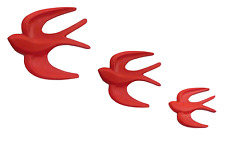 Set Of 3 Red Swallows Wooden Wall Birds Art Retro Vintage Style Flying Ducks