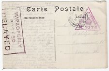 1915 FRANCE PPC TO LONDON 'IMPROPERLY POSTED DELAYED' CACHET APO R4 CDS & CENSOR
