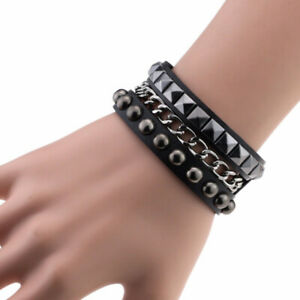 Multilayers Rock Spikes Rivet Chains Gothic Punk Cuff Leather Fashion Bracelet
