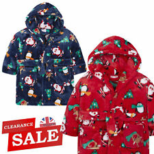Baby Girls Boys Novelty Christmas Dressing Gown Hooded Plush Fleece Robe Xmas UK