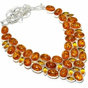 """Baltic Amber, Citrine Gemstone Ethnic Silver Jewelry Necklace 18"""" MN-261"""