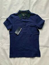 FRED PERRY G7771 RICH NAVY BLACKWATCH COLLAR PIQUE SHIRT SIZE 8 UK