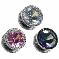 Diamond Crystle Ear Gauges and Ear Tunnels Body Piercing Jewelry Ear Tunnel 2pcs
