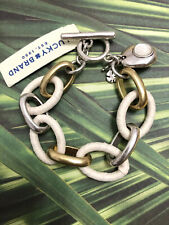 LUCKY BRAND Chain Charm Statement Bracelet Chunky Chic Link Jewelry Gold Silver