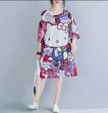 Cute Hello Kitty Short Sleeve Casual Simple T-Shirt Loose Dress Sweatshirt