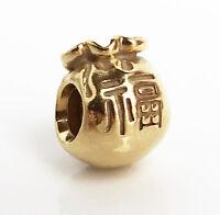 Genuine Pandora Good Fortune Moneybag Charm 14K Gold Vermeil 790990