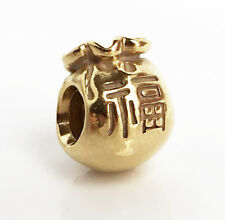 Genuine Pandora Good Fortune Moneybag Silver Charm 18K Gold Vermeil 790990