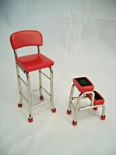 1950s Red Kitchen Step Stool miniature metal dollhouse T5951   1/12 scale