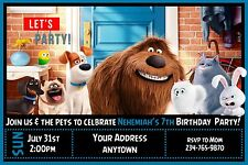 12 THE SECRET LIFE OF PETS Birthday party invitations PRINTED