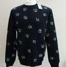 NEW ALEXANDER MCQUEEN XX-Large Black/White Slim fit McQ Swallow Sweatshirt 2XL