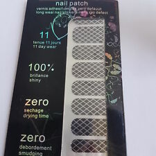 16 Black Nail Patch Foils with Silver Lines
