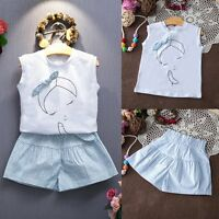 Toddler Kids Baby Girls Outfits Clothes T-shirt Tops+Shorts Pants Dress 2PCS Set