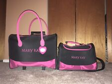 Two Mary Kay Stackable Black/Pink Luggage Case Tote Travel Bags
