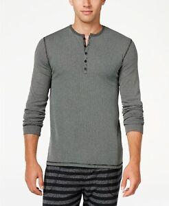 Kenneth Cole Reaction Men's Ribbed Henley Sleep Shirt - Black - Medium