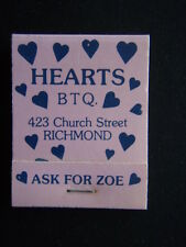 HEARTS BTQ CHURCH ST RICHMOND ASK FOR ZOE 4283144 MATCHBOOK