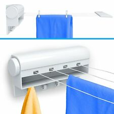 40' Wall Mount 4-Line Retractable Clothesline Laundry Hanger Cloth Drying Rack