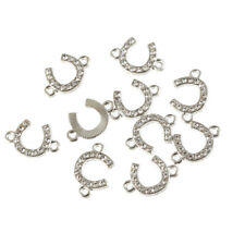 10X Silver Plated Crystal Horseshoe U Shaped Connector Charm Beads 18*10mm