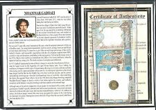 Moammar Gadafi Set of 2 Banknotes and 1 Coin with Story,Certificate and Album