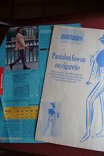 Patron magazine avantages: 3 pantalons : fuseau, cigarette,... T 38-42-46