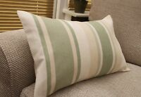 LAURA ASHLEY AWNING STRIPE IN HEDGEROW GREEN CUSHION COVER VARIOUS SIZES