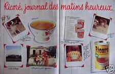 PUBLICITÉ RICORÉ CHICORÉE CAFÉ SOLUBLE JOURNAL DES MATINS HEUREUX