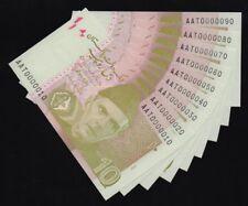 Pakistan 10 Rupee - Fancy Number 0000010 to 0000090 - Lot of 9 - Look !!