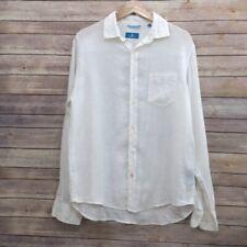Toscano Mens Button linen Shirt Size M Long Sleeve White