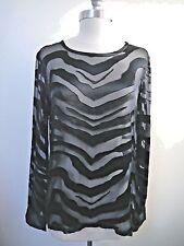 NEW EQUIPMENT $198 black burnout long sleeve blouse top size S