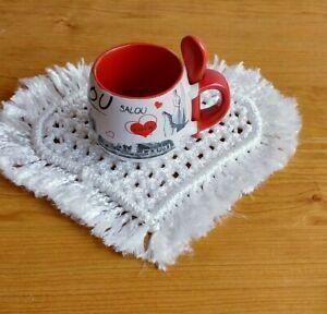 Handmade coasters, white macrame coffee coasters,  table decor, heart coasters