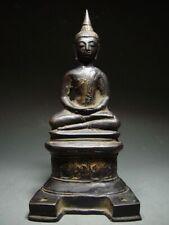 ANTIQUE BRONZE BURMESE AVA PERIOD ENTHRONED BUDDHA. MYANMAR 17/18th C.