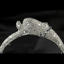 18k white gold made with SWAROVSKI crystal bangle chinese dragon hinged bracelet