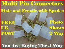 4 WAY MALE & FEMALE MULTI PIN CONNECTOR WITH 6.3mm SPADES - BIKE CAR MOLEX TYPE