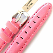 16mm DARLENA 1351 PINK SATIN FINISH PADDED CALF LEATHER WATCH STRAP SIL BUCKLE
