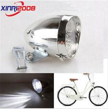 Retro 3 LED Bicycle Bike Chrome Visor Bullet Headlamp Headlight Front Tail Ligh